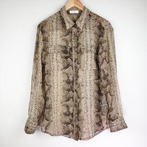 Equipment Femme Silk Sheer Snakeskin Button Blouse